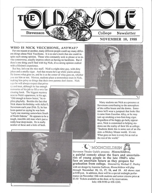 Nick immortalized in Stevenson's newsletter, the Old Sole, 1988